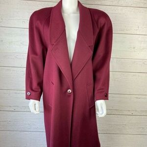 Cassidy Petite USA Duster Trench Wool Coat Maroon